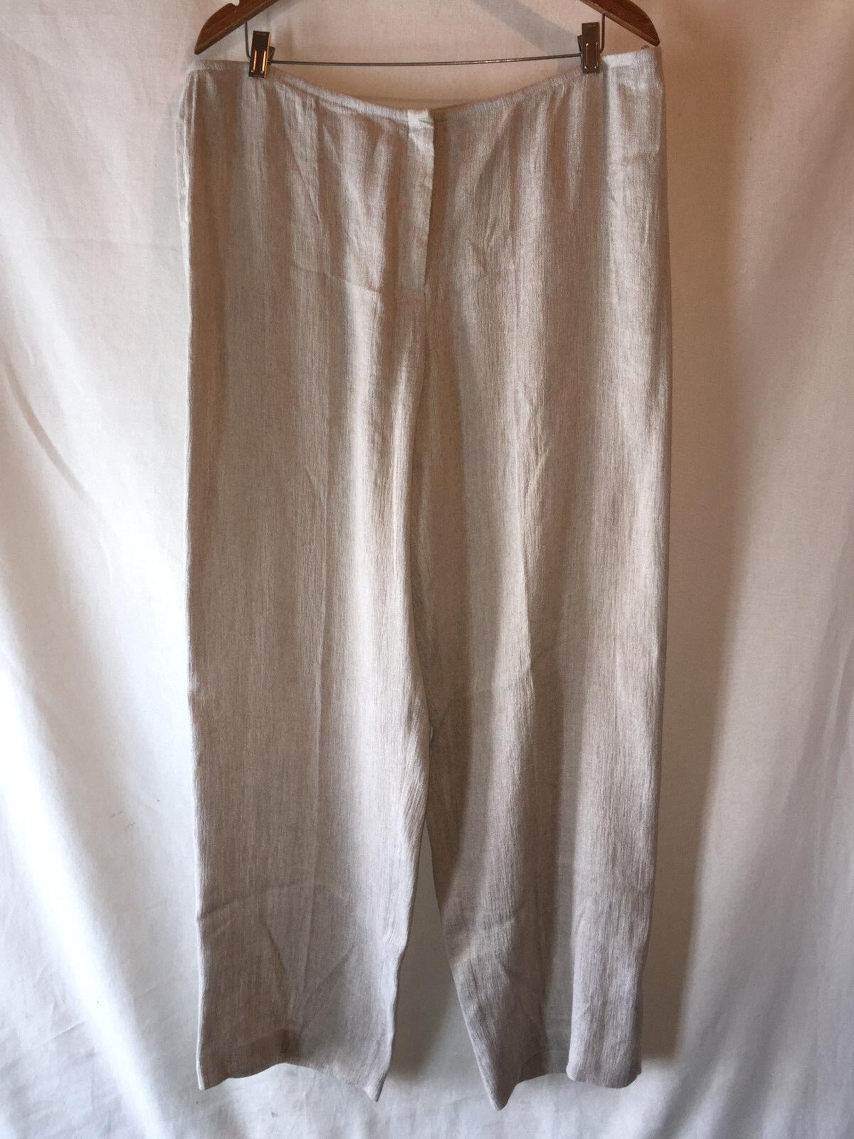 EILEEN FISHER Elegante Largo Simple  Beige Con textura Lino Algodón Pantalones Pantalones XL  tienda de ventas outlet