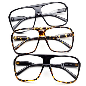 d8f3f70374fb Oversize Large Square Frame Clear Lens Geek Nerd Glasses Flat Top ...