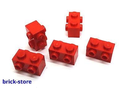4657459 Lego Stein Modifiziert 1x2 mit 2 Noppen auf 2 Seiten Hellgrau 5 Stück