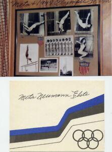 1948 London Olympics Gymnastics Bronze META ELSTE Orig Autograph 1980s