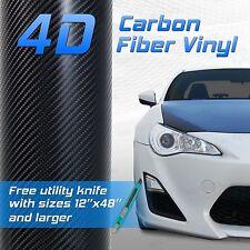 "60""x72"" 5x6 ft 4D Professional Grade Black Carbon Fiber Vinyl Wrap Bubble Free"