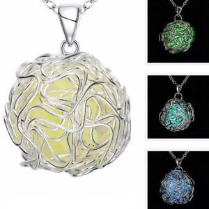Collana-ciondolo-pietra-fluorescente-pendente-Sfera-luminosa-bigiotteria-donna