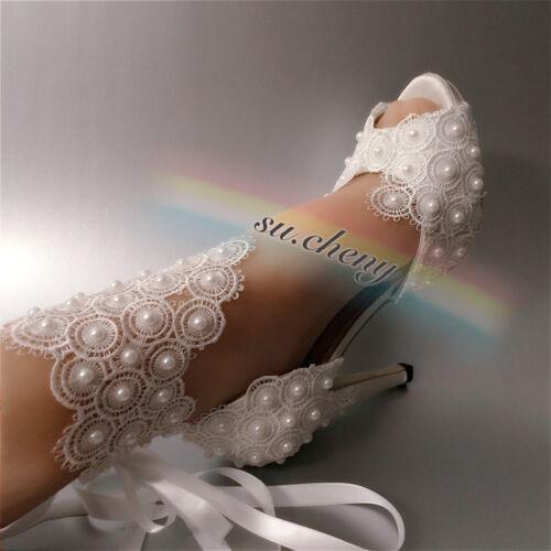 """Su CHENY 3/"""" 4/"""" Talon Satin Blanc Ivoire Dentelle Perles Bout Ouvert Mariage Chaussures de mariée"""