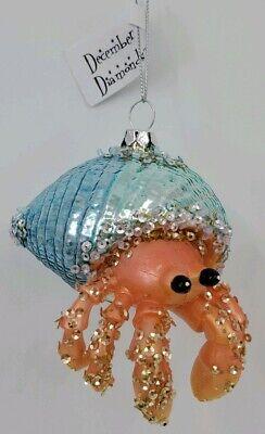 Demdaco Blue Green Spun Glass Octopus Nautical Beach Christmas Ornament