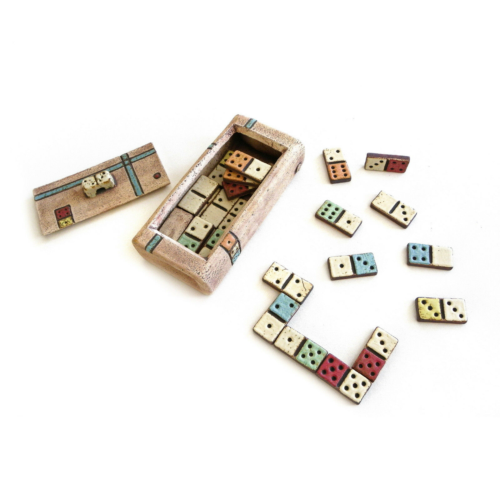 Dominoes Decorative Board Game - Handmade Ceramic - Double 6 - Replica Set