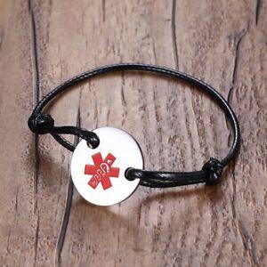 Free Engraving Medical Information Bracelet,Adjustable. Medical Bracelet Braided Rope Bracelet for Men//Women Custom Medical Alert ID Bracelet