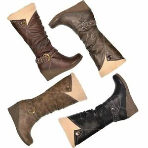 Ladies-womens-knee-high-wedge-boots-fully-fur-lined-winter-riding-boots