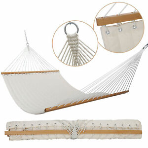55-034-Double-Quilted-Fabric-Swing-2-Person-Hammocks-Hardwood-Spreader-Bar-w-Pillow