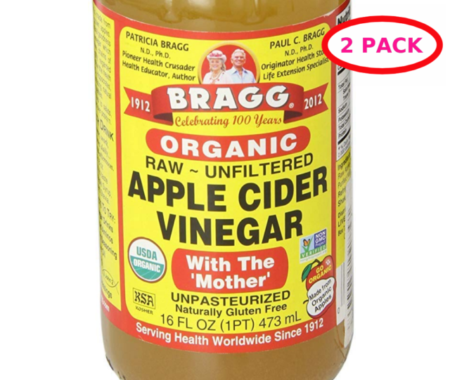Bragg APPLE CIDER VINEGAR Organic Raw 16 Fl Oz with Mother Unfiltered 2 Pack