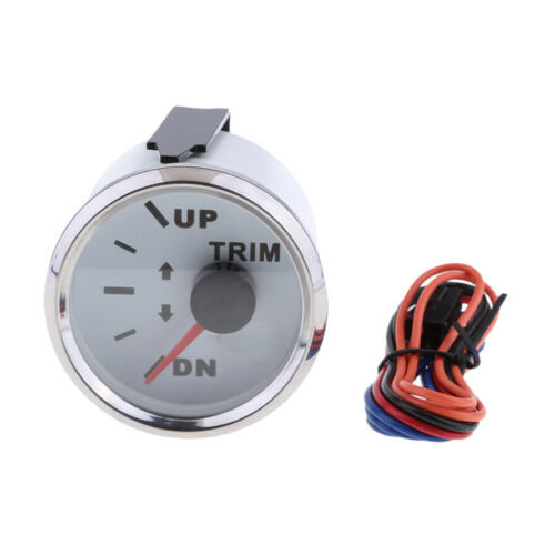 52mm Boat Marine Waterproof Trim Gauge UP-DN 0-190ohm DC 9-32V White Face#2
