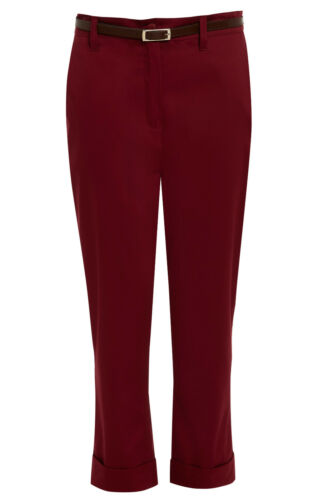 UP PANTS SIZE 10-18 NEW WOMENS LADIES FITTED BELTED HIGH WAISTED CAPRI TURN