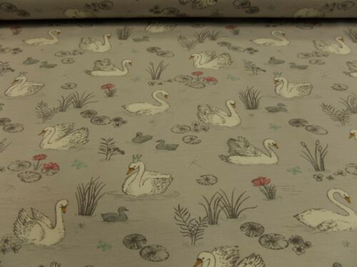 """Los niños de tela /""""cisnes/"""" finamente Jersey BW//am 140 cm br.. cuanto 50 cm BW-mischgew."""