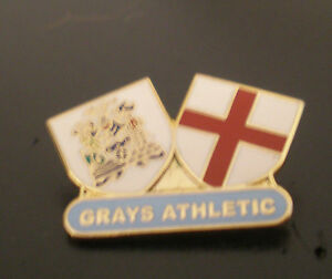 Grays-Athletic-amp-St-George-White-Twin-Shield-Football-Non-League-Pin-Badge