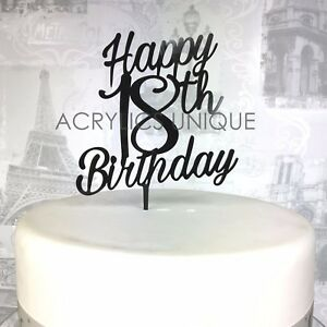 Image Is Loading 18th Birthday Cake Topper Acrylic 18 Celebration