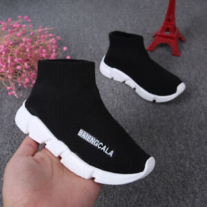 Girls Boys Sock Knitted Flat Sneakers Trainers Kids Speed Runners Walking Shoes