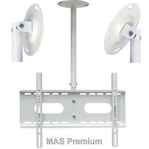 universelle tv deckenhalterung 30 70 zoll ausziehbare neigbar drehbar 360 wei ebay. Black Bedroom Furniture Sets. Home Design Ideas