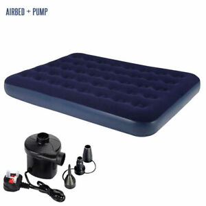 Inflatable-Single-Double-Flocked-Air-Bed-Camping-Comfy-Airbed-Mattress-With-pump