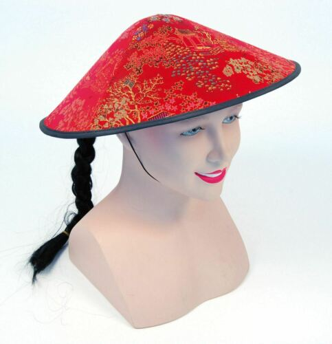 Tresse Chinois Coolie Tissu Rouge Chapeau