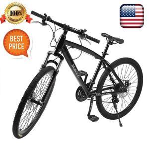 NEW-Mountain-Bike-Men-039-s-26-034-Black-21-Speed-Double-Disc-Brakes-Road-Bicycle-MX