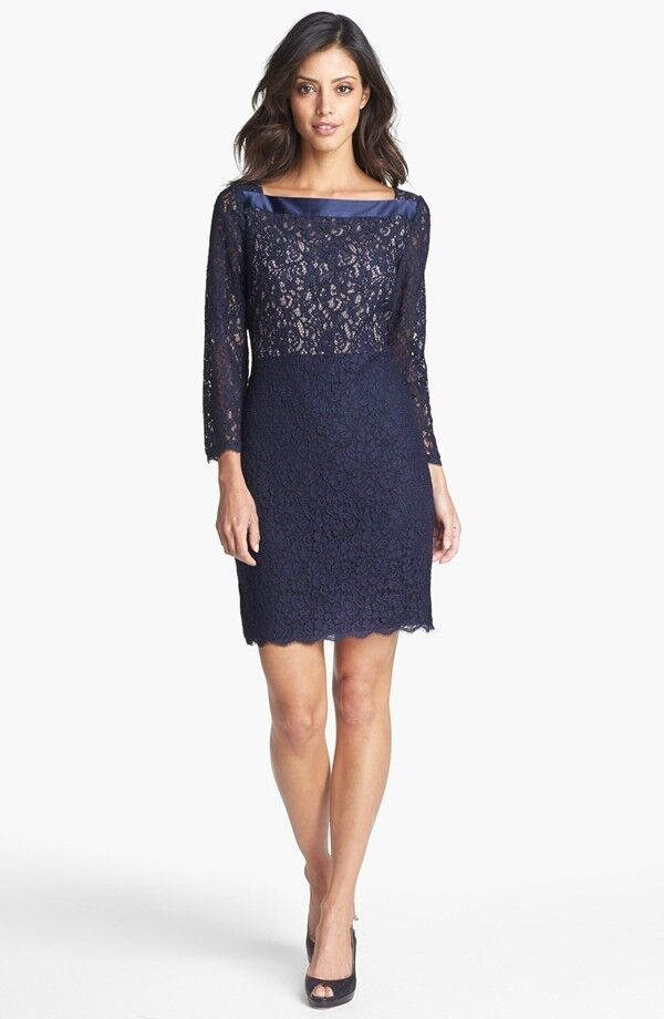 Adrianna Papell Two Tone Lace Sheath Dress  ( Size 4)