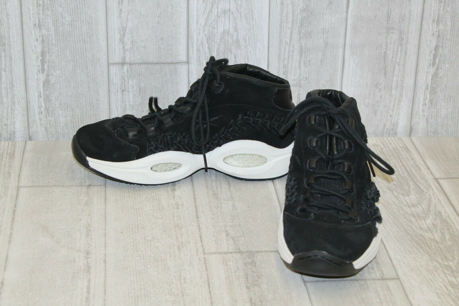 Reebok Question Mid HOF V72718 Black Suede Basketball Shoes Medium ... 741831982