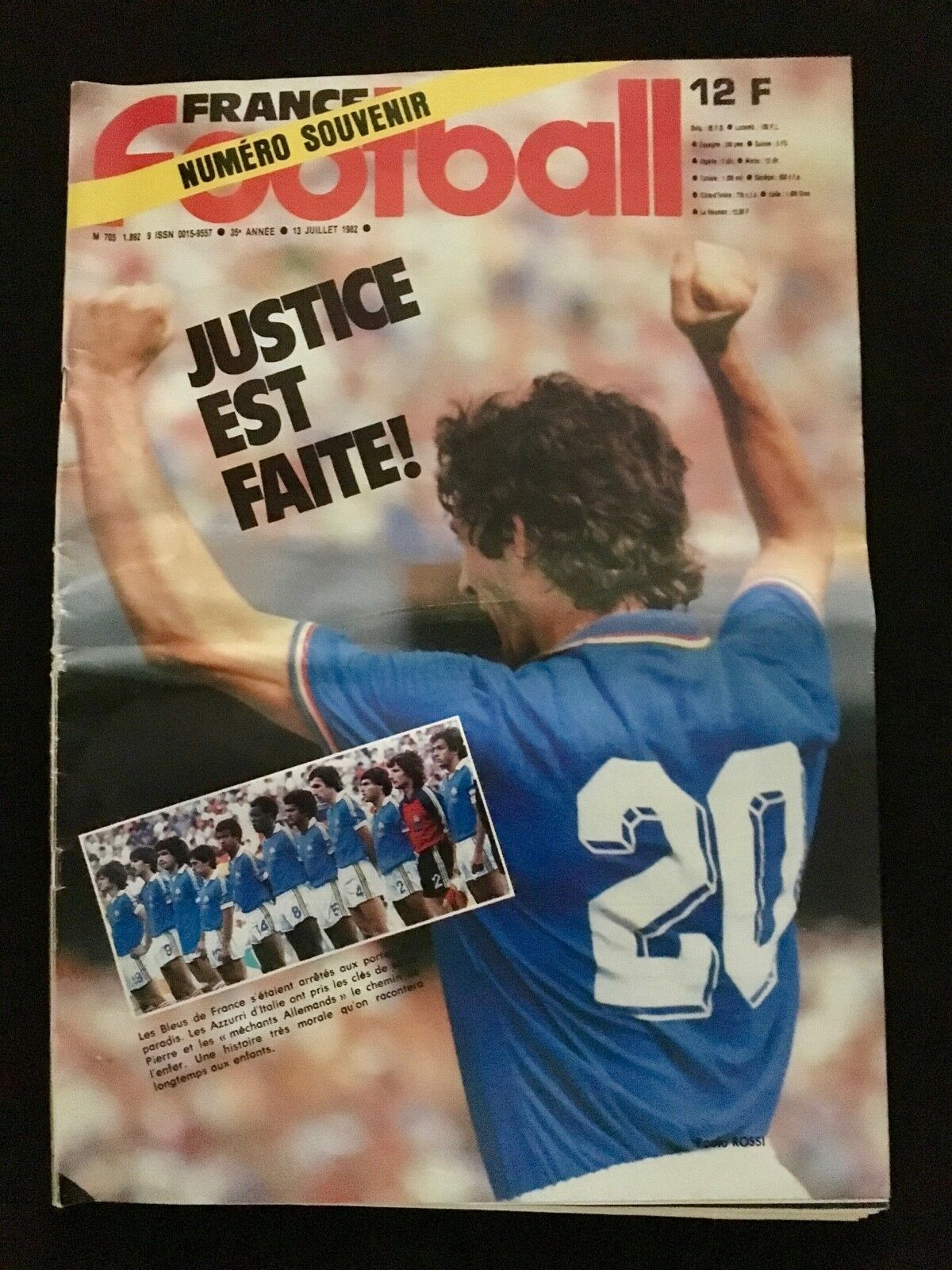 MAGAZINE FRANCE FOOTBALL Nº1892 MONDIAL 1982 MUNDIAL 82 ITALIE-FRANCE-KOWEIT ETC