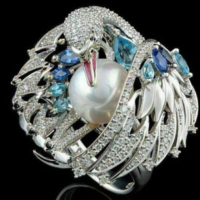 Animal Ring 925 Silver Owl Bird Frog Emerald Sapphire Wedding Gift Party Sz5-10
