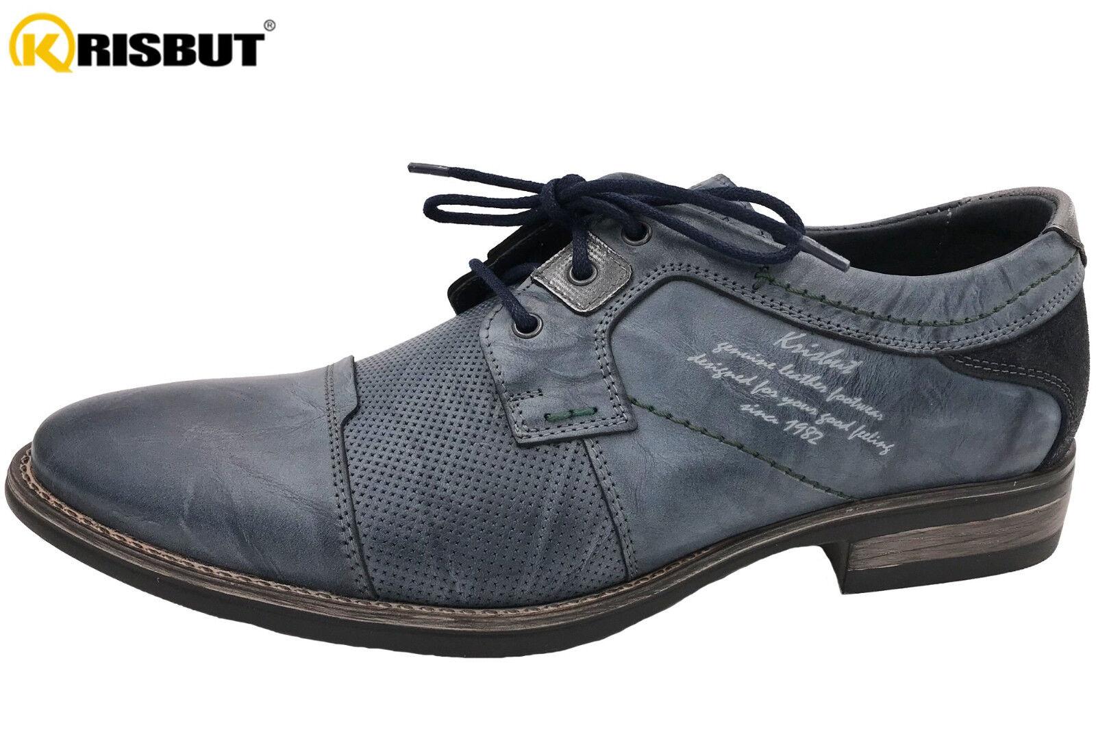 Krisbut Herren Schuhe Blau Kombi Elegante Schnürschuhe Leder NEU 4885-3