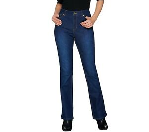 Isaac-Mizrahi-Women-039-s-Petite-TRUE-DENIM-Boot-Cut-Jeans-Dark-Indigo-Size-4P-QVC