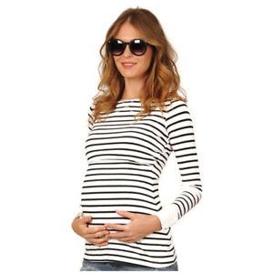 42beb28bce5b9 1x Women Breastfeeding T-Shirt Striped Polyster Long Sleeve Nursing ...