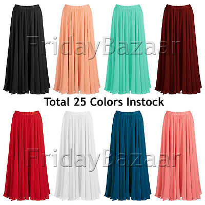 Women Lady Chiffon 2 Layer Full Circle Skirt Retro Long Maxi S~3XL | 25 Colors