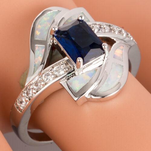 Blanco Ópalo De Fuego 5x7 Azul Zafiro Envoltura de derivación de plata Anillo Talla N Q S U 7 8 9 10