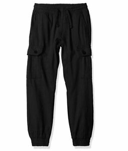 Southpole-Boys-039-Little-Cargo-Jogger-Pants-Washed-Ripstop-Fabric-Black-Large