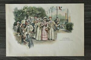HO4) Farb Holzschnitt 1885-1900 G Wittschas - Börsengarten Königsberg Studentika