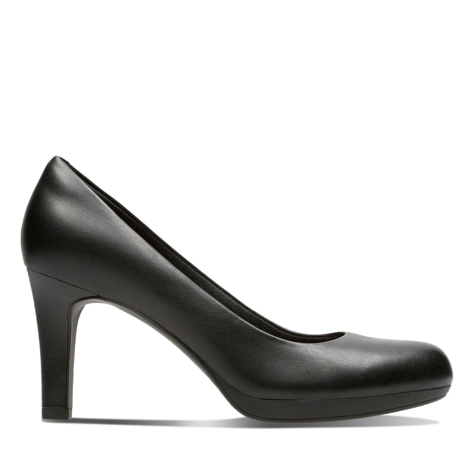 Clarks Damen Damen Clarks Schuhe Adriel Lila Schwarzes Leder D Weite Passform e6ef06