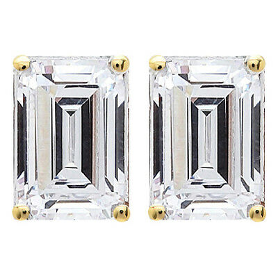 3.0 tcw Emerald Cut Solitaire Stud Earrings Solid 14k Yellow Gold Screw Back D