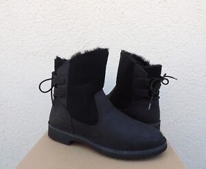 2fb49e77494 Details about UGG NAIYAH BLACK LEATHER/ TWINFACE WINTER ANKLE BOOTS, US 11/  EUR 42 ~NIB