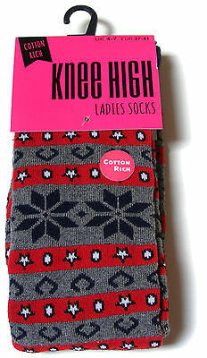 1 Pair Of Womens Ladies Cotton Rich Thick Fairisle Knee High Welly / Boot Socks