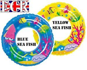BRAND-NEW-INFLATABLE-GARDEN-POOL-SWIM-RING-60cm-diameter-BLUE-YELLOW-SEA-FISH