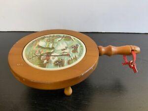 Vintage Wooden Enesco The Homestead in Winter Art Trivet Ceramic
