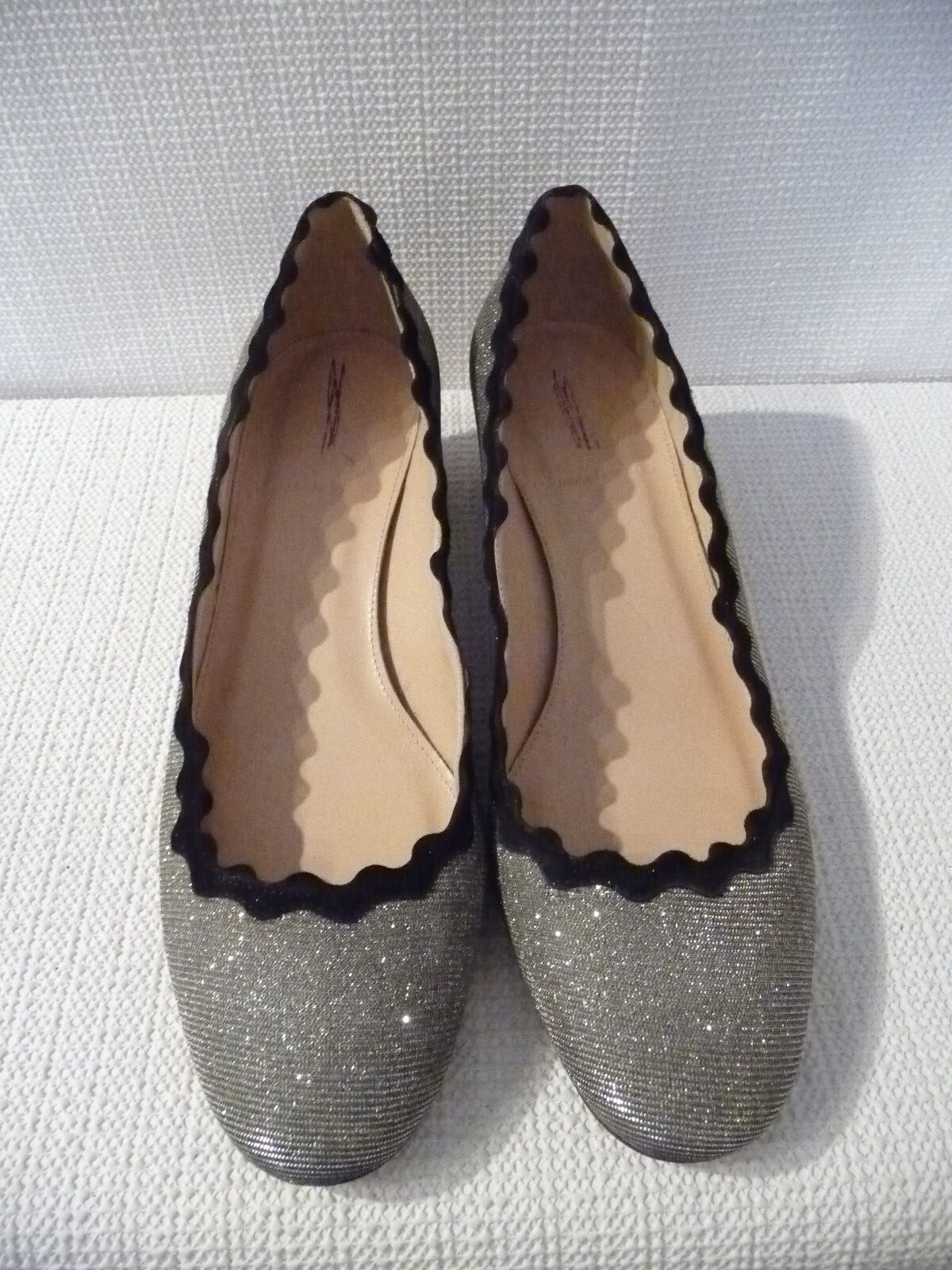 NEW J.CREW METALLIC GLITTER SCALLOPED HEELS IN METALLIC J.CREW GUNMETAL, F8606, SIZE 8.5,  248 a358d0