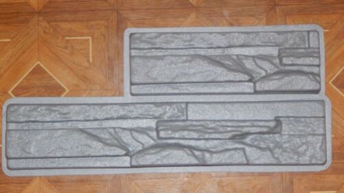 2 pcs Wall Stone Tiles Moulds Cement Bricks Maker Mold Home Garden Former Tool