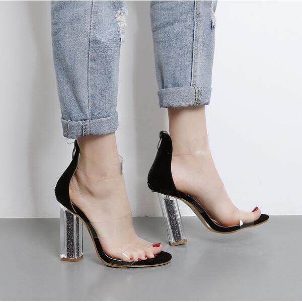 Sandalias de mujer elegantes talón cuadrado 12 negro transparente cómodo CW369
