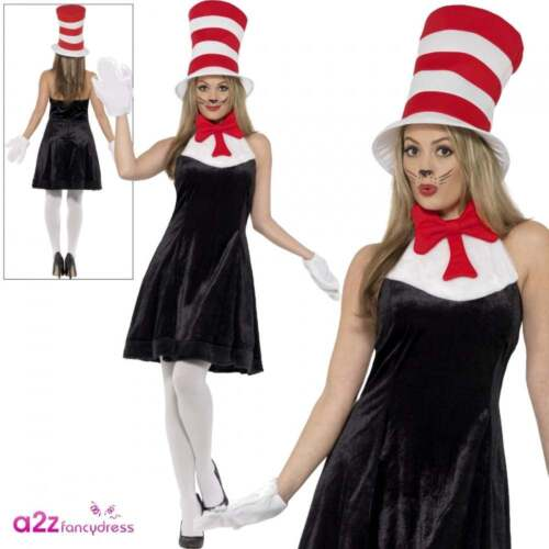 Dr Seuss Ladies Cat In The Hat Licensed Adult Fancy Dress Book Day Week Costume