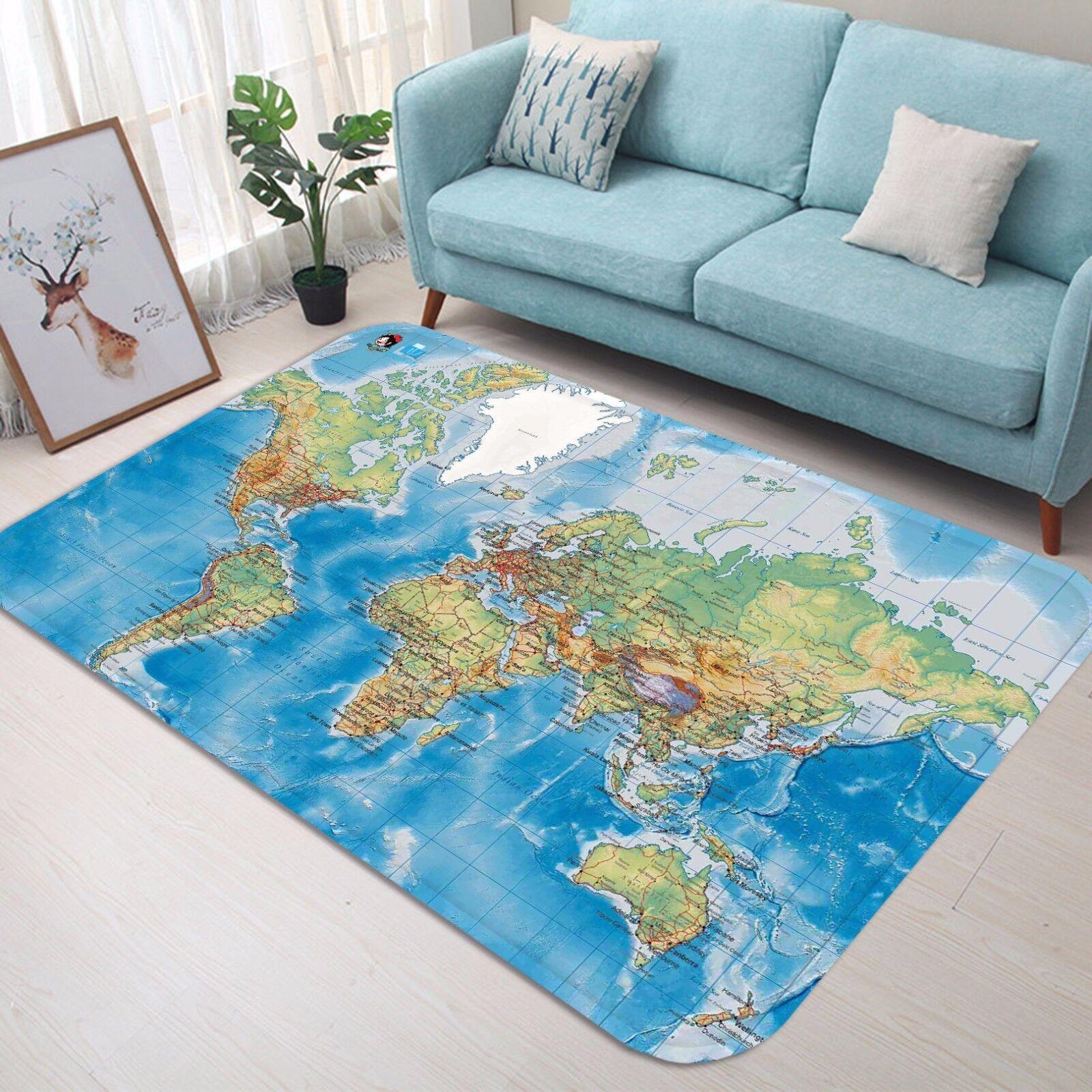 3D World Map 51 Non Slip Rug Mat Room Mat Quality Elegant Photo Carpet US