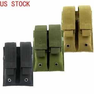 US-Double-Magazine-Pouch-Tactical-Heavy-Duty-Hoop-amp-loop-Pistol-Magazine-Holder