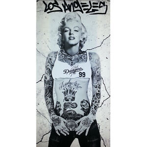 marilyn monroe with dodger shirt and tattoos picture