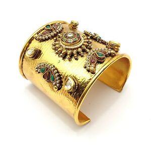 0038740d6 Image is loading Indian-Antique-Cuff-Bracelet-Bollywood-Bridal-kundan-Polki-
