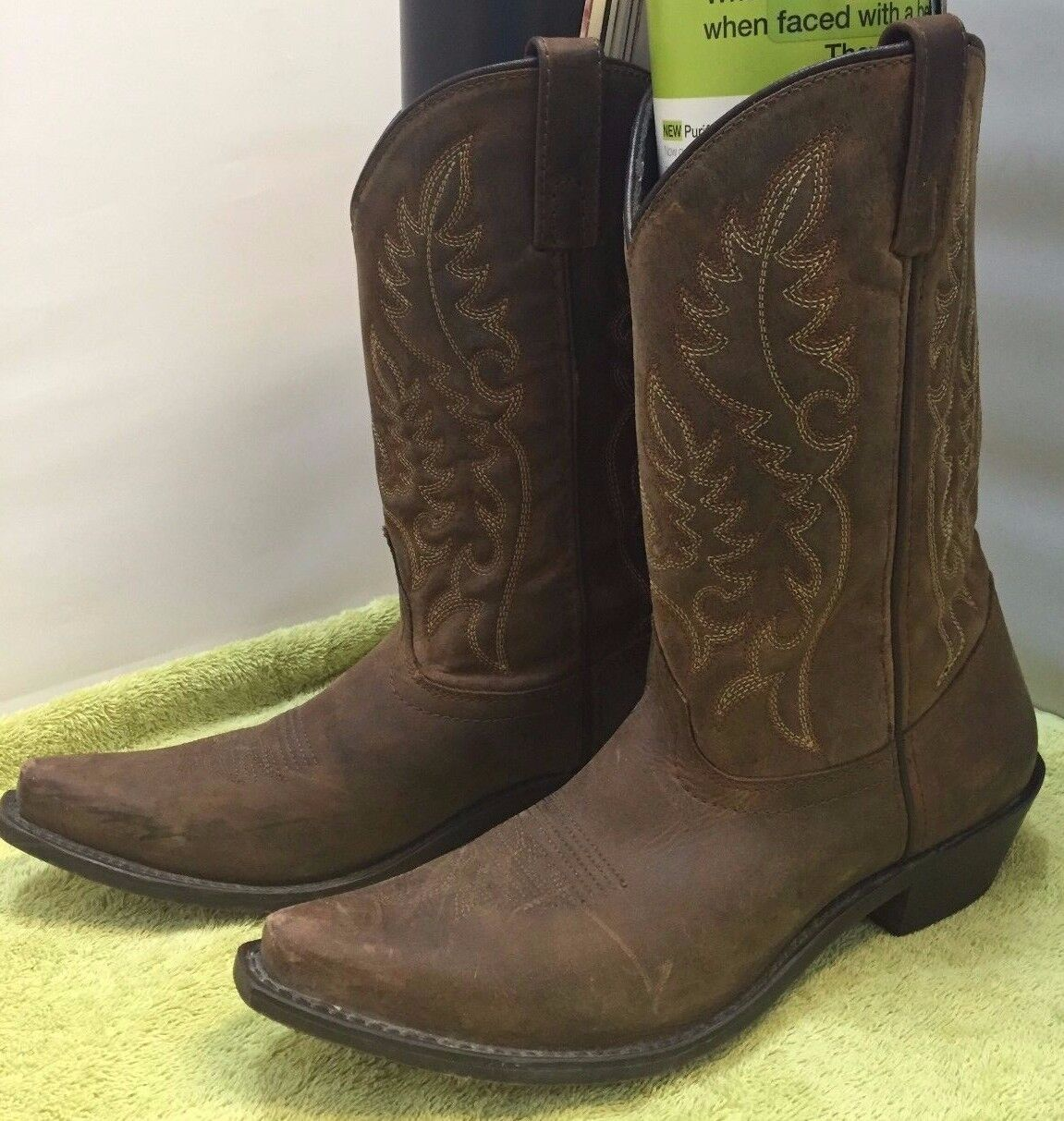 WOMEN 7.5 LAROTO PROVIDENCE LEATHER WESTERN COWBOY BOOTS BROWN MID CALF 51094