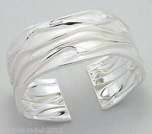 NEW-Solid-Sterling-Silver-CRINKLED-Cuff-Bangle-Bracelet-25g-Couture-BEAUTY